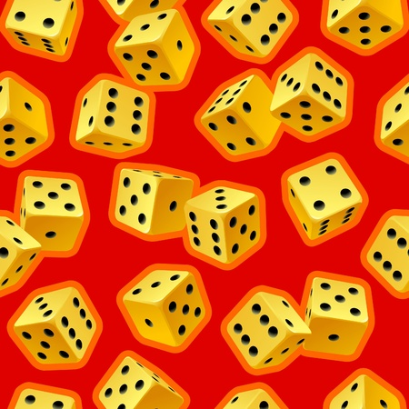 Vector dice seamless background. Yellow on red. Vector