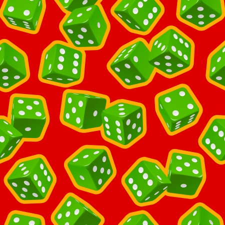 Vector dice seamless background. Green on red Vector