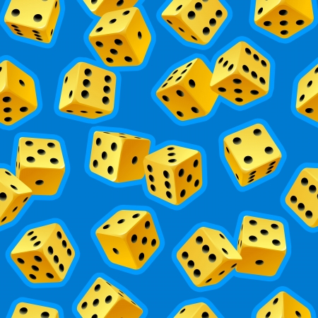 yellow vector: Vector dice seamless background. Yellow on blue Illustration