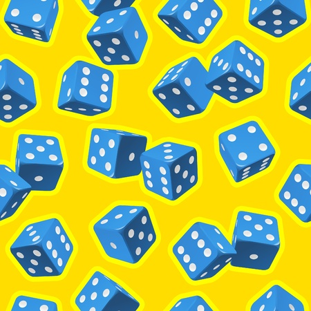 Vector dice seamless background. Blue on yellow. Vector