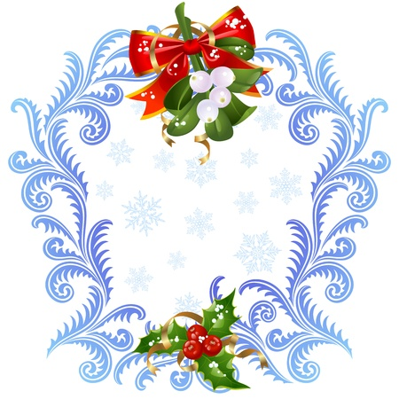 Christmas and New Year greeting card 6. Mistletoe and holly Vector