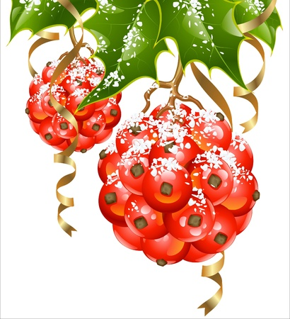 Christmas and New Year background. Vector holly in the shape of Xmas ball and golden ribbon. Vector