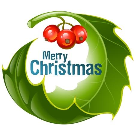 Kerstmis en Nieuwjaar achtergrond, Vector hulst cirkel frame geïsoleerd op wit Stockfoto - 16307822