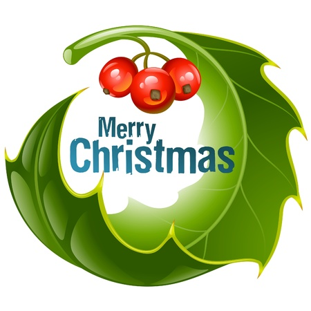 Christmas and New Year background, Vector holly circle frame isolated on white