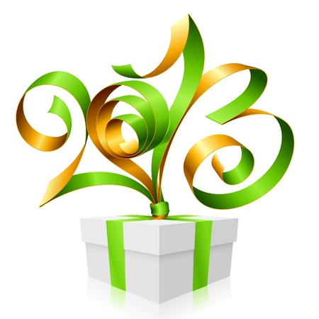 green ribbon in the shape of 2013 and gift box. Symbol of New Year Stock Vector - 16462020