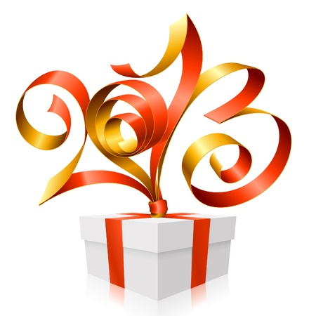 red ribbon in the shape of 2013 and gift box. Symbol of New Year Vector