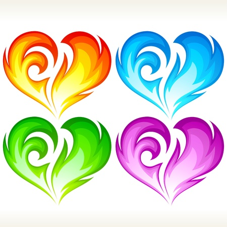 Set of burning heart. Red, blue, green and purple symbol of love. Vector