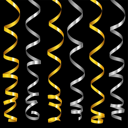 holiday serpentine ribbons set. Golden and silver paper streamer isolated on black background. Vector