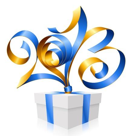 2013 년 새해 선물 상자 기호의 형태로 블루 리본