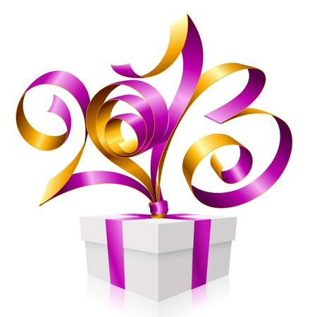 purple ribbon in the shape of 2013 and gift box  Symbol of New Year Stock Vector - 16527008