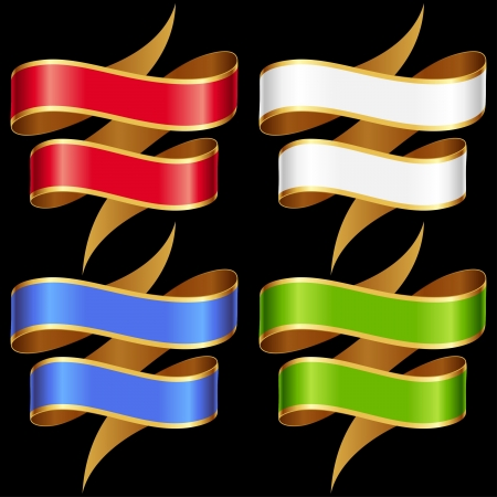 title:  Ribbons set  Multicolored banners isolated on black background