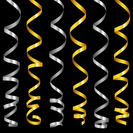 holiday serpentine ribbons set  Golden and silver paper streamer isolated on black background Stock Vector - 16527004