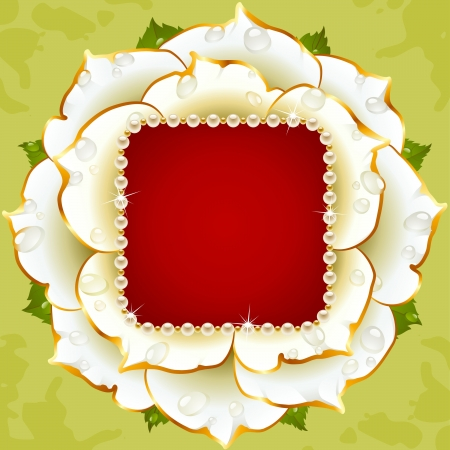 floral background. White rose wedding frame with pearl necklace Vector