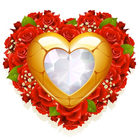Roses and jewelry in the shape of heart Vector