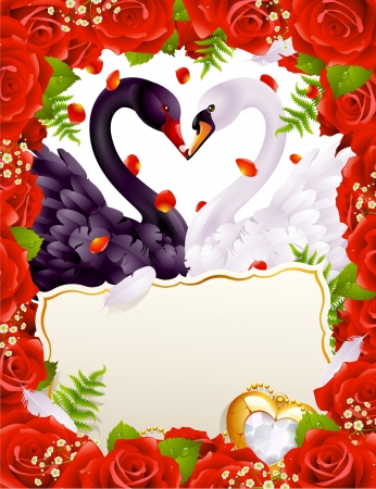 rose petal: Greeting card with swans in love