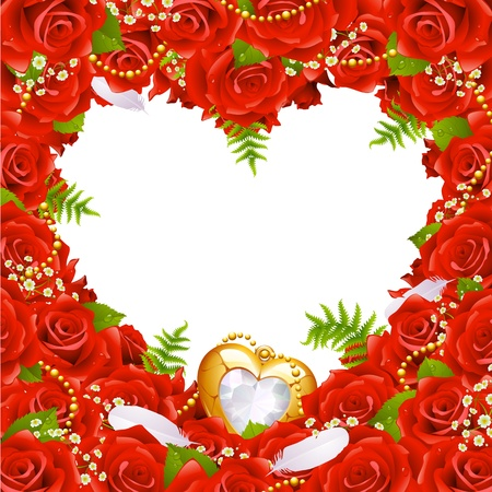 rose petal: Greeting card with roses, feathers and jewelry in the shape of heart