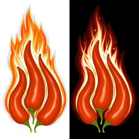 Hot chili pepper in der Form des Feuers Zeichen Vektorgrafik