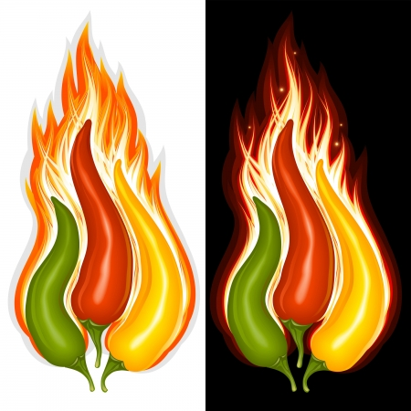 hot peppers: Hot chili pepper in the shape of fire sign
