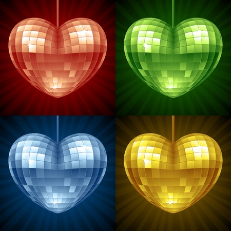 disco background: Disco Heart set. Vector red, green, blue and yellow mirror disco ball in the shape of heart