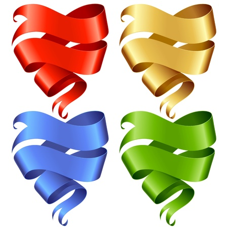 Set of vector Ribbon banner in the shape of heart isolated on white background