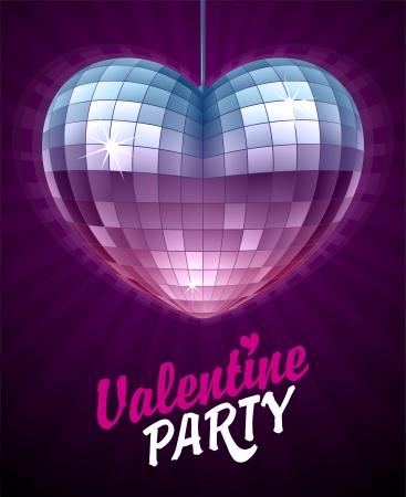 벡터 디스코 심장. 심장의 모양에 디스코 공을 거울. 발렌타인 데이 카드.