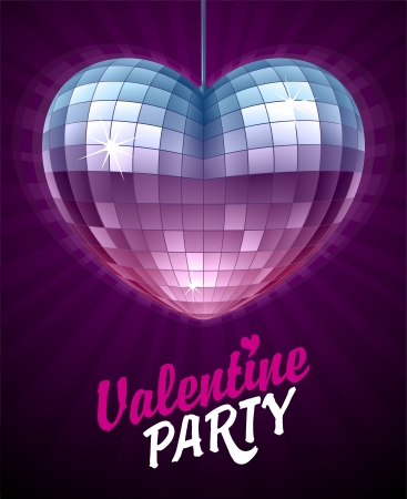 Vector Disco Heart. Mirror disco ball in the shape of heart. Valentine's Day Card.