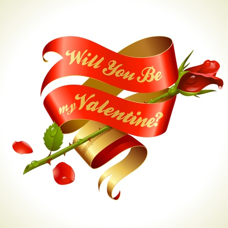 Ribbon banner in the shape of heart and red rose. Valentines Day Card. Vector