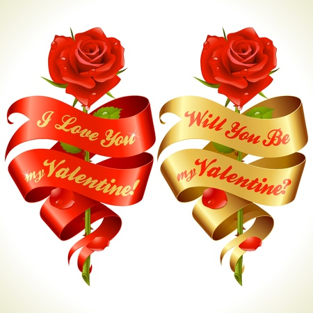Ribbon banners in the shape of heart and red rose. Valentine's Day Card. Stock Vector - 17478556