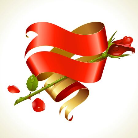 Ribbon banner in the shape of heart and red rose. Valentine's Day Card. Stock Vector - 17567097