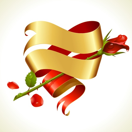 Ribbon banner in the shape of heart and red rose. Valentine's Day Card. Vector