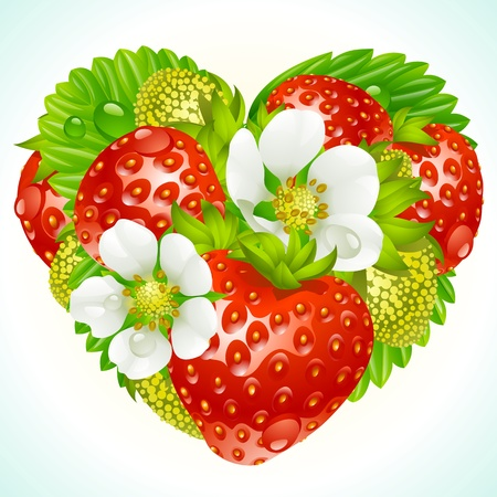 Vector red strawberry, green leaf and white flower in the shape of heart Vector