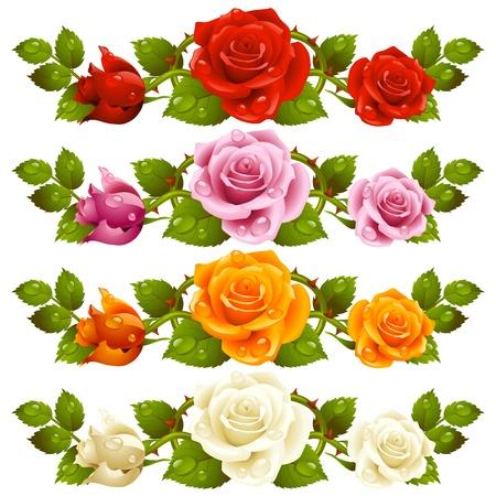 ベクトル ローズ、赤の背景に分離された水平のビネット ピンク、黄色と白の花