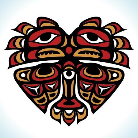 motif indiens: Indian vecteur mod�le en forme de coeur Illustration