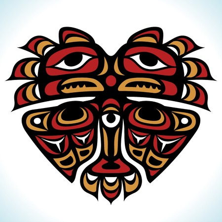 Vector Indian pattern in the shape of heart  Illustration