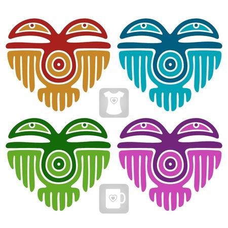 tatouage oiseau: Indian vecteur mod�le en forme de coeur Illustration