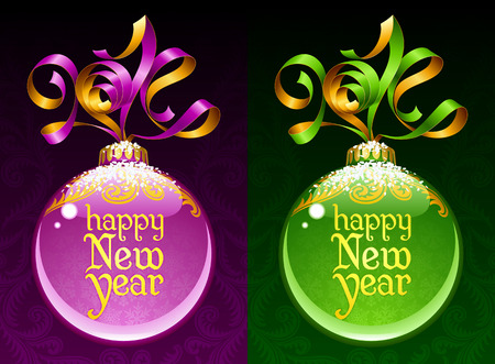 Christmas and New Year circle frame  Vector ribbon in the shape of 2014 and glass ball  Vector