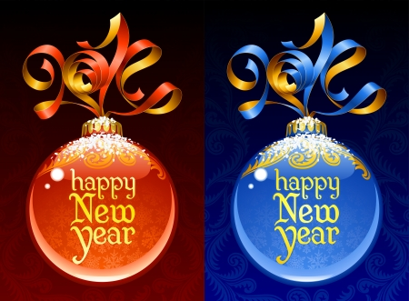 Christmas and New Year circle frame  Vector ribbon in the shape of 2014 and glass ball  Red and blue Vector