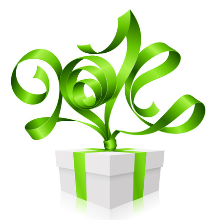 x mas party: Vector green ribbon in the shape of 2014 and gift box  Symbol of New Year Illustration