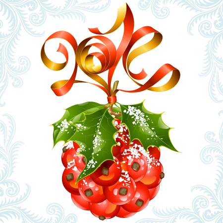 Vector ribbon in the shape of 2014 and holly ball  Christmas and New Year greeting card  Vector