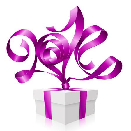 2014 년 새해 선물 상자 기호의 모양 벡터 보라색 리본 일러스트