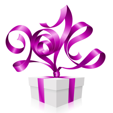 Vector purple ribbon in the shape of 2014 and gift box  Symbol of New Year