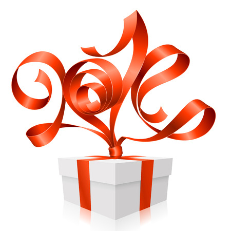 Vector red ribbon in the shape of 2014 and gift box  Symbol of New Year Vector