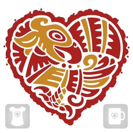 motif indiens: Vecteur mod�le indien de l'oiseau en forme de coeur