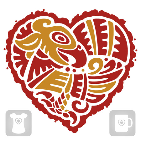 Vector Indian pattern of bird in the shape of heart Vector
