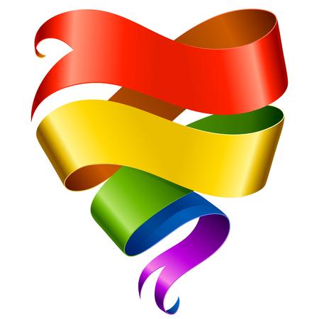 Vector regenboog lint in de vorm van hart Stockfoto - 23898131