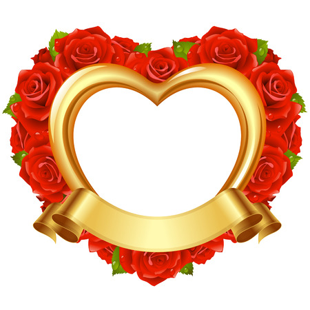 Vector frame in the shape of heart with red roses and golden ribbon  Valentine s day or Wedding greeting card  Vector