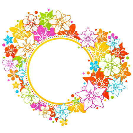 Colorful floral heart frame Vector