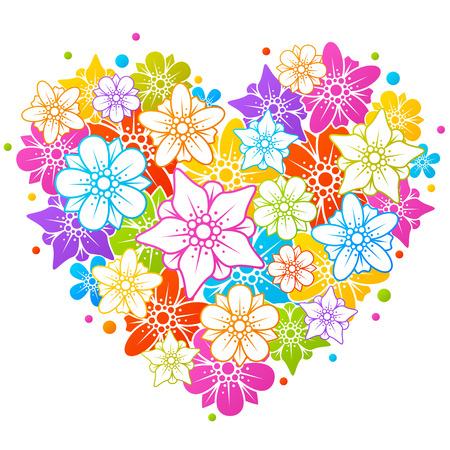 wedding backdrop: Colorful floral heart Illustration