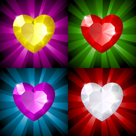 Sparkling background with jewel heart in four colors Vector