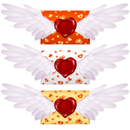 Love letter with wings and wax seal in the shape of heart Vector